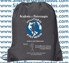 Mochila Saco Nylon Cinza Academia FITNES