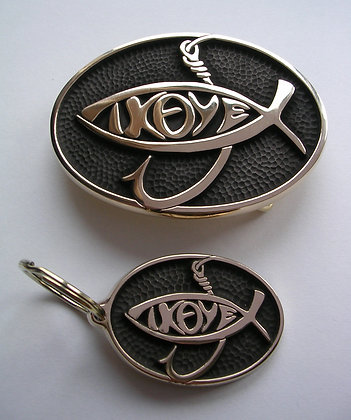 Jesus Fish Buckle with Key Fob - IXOYE
