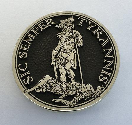 Sic Semper Tyrannis Buckle - Circle - Brass