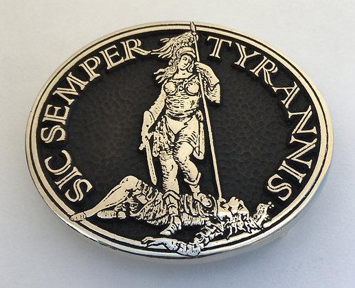 Sic Semper Tyrannis Buckle - Oval - Brass