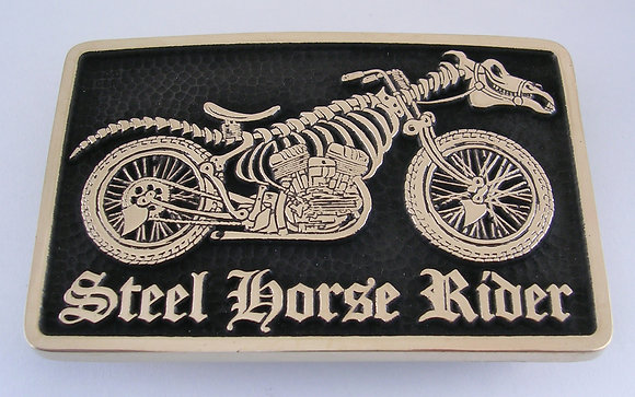 Steel Horse Rider Belt Buckle - Brass