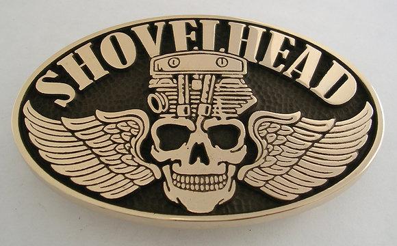 Shovelhead Skull Motorcycle Engine Buckle