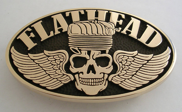 Flathead Skull Motorcycle Engine Belt Buckle