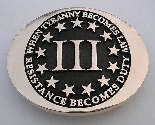 III Percenter Tyranny Duty Belt Buckle