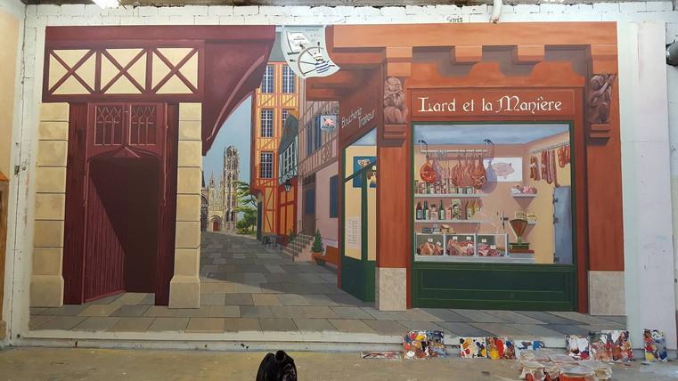 fresque trompe l'oeil Rouen avant personnages
