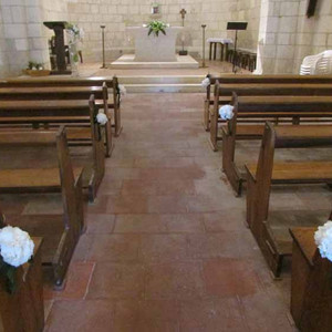 Fleurs mariage - Banc d'église