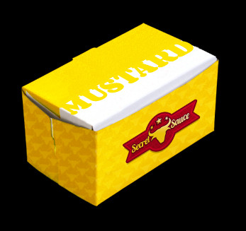 A generic yellow food take-out box.
