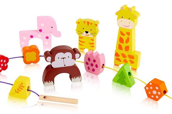 Zoo Animal Wooden Lacing Blocks