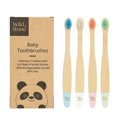 Baby Bamboo Toothbrushes - Set of 4