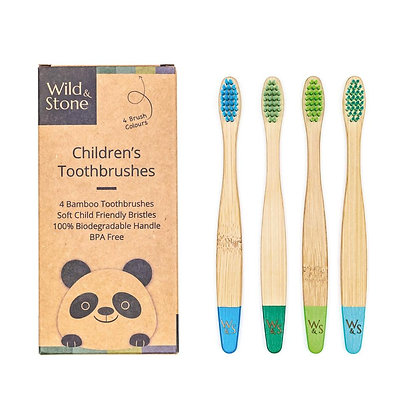 Children's Bamboo Toothbrushes 4 pack - Aqua