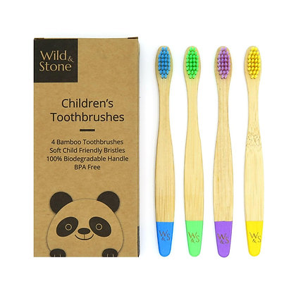 Children's Bamboo Toothbrushes 4 pack - Multi Colour