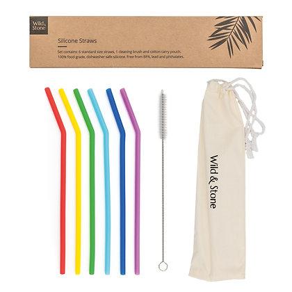 Silicone Drinking Straws - Reusable, BPA Free & Vegan - 6 Pack