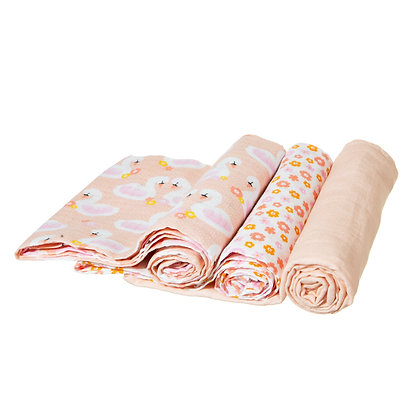 Swan Muslin Cloths - Pack of 3