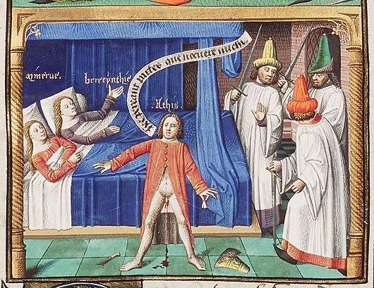 Attis-se-castrant-lui-meme-Minerva-and-Cybele-are-lying-in-bed-La-cite-de-Dieu-manuscrit-f