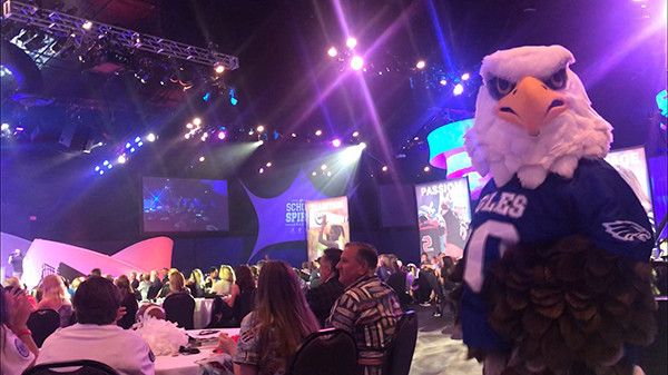 Hubbard Eagle Mascot at the Varsity Brands School Spirit Awards
