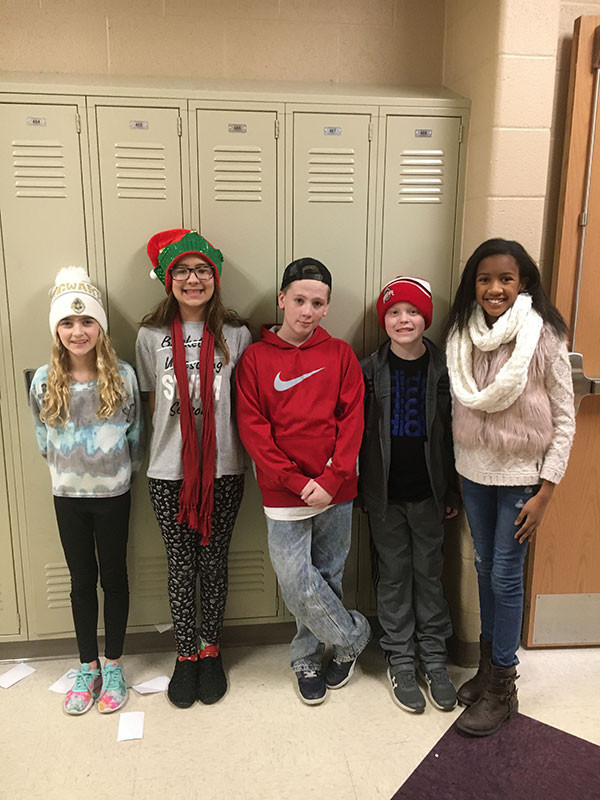 Middle School students dressed up for winter season