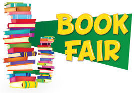 Books stacked together with the word book fair