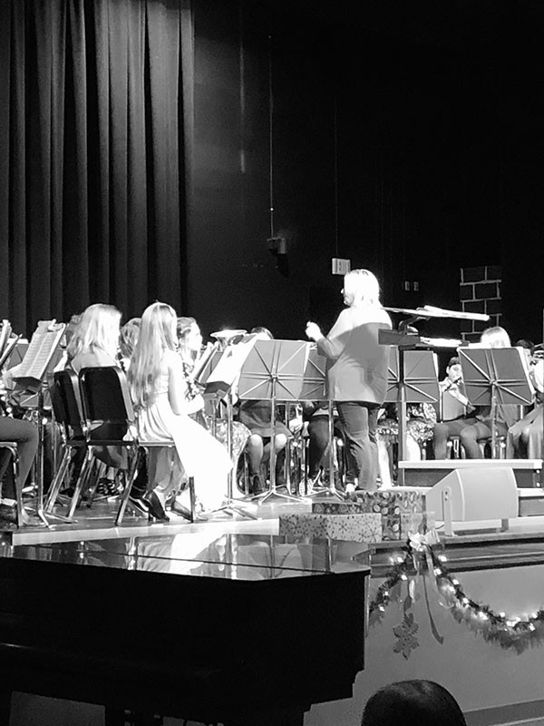 Hubbard Middle school band performing at the winter concert.