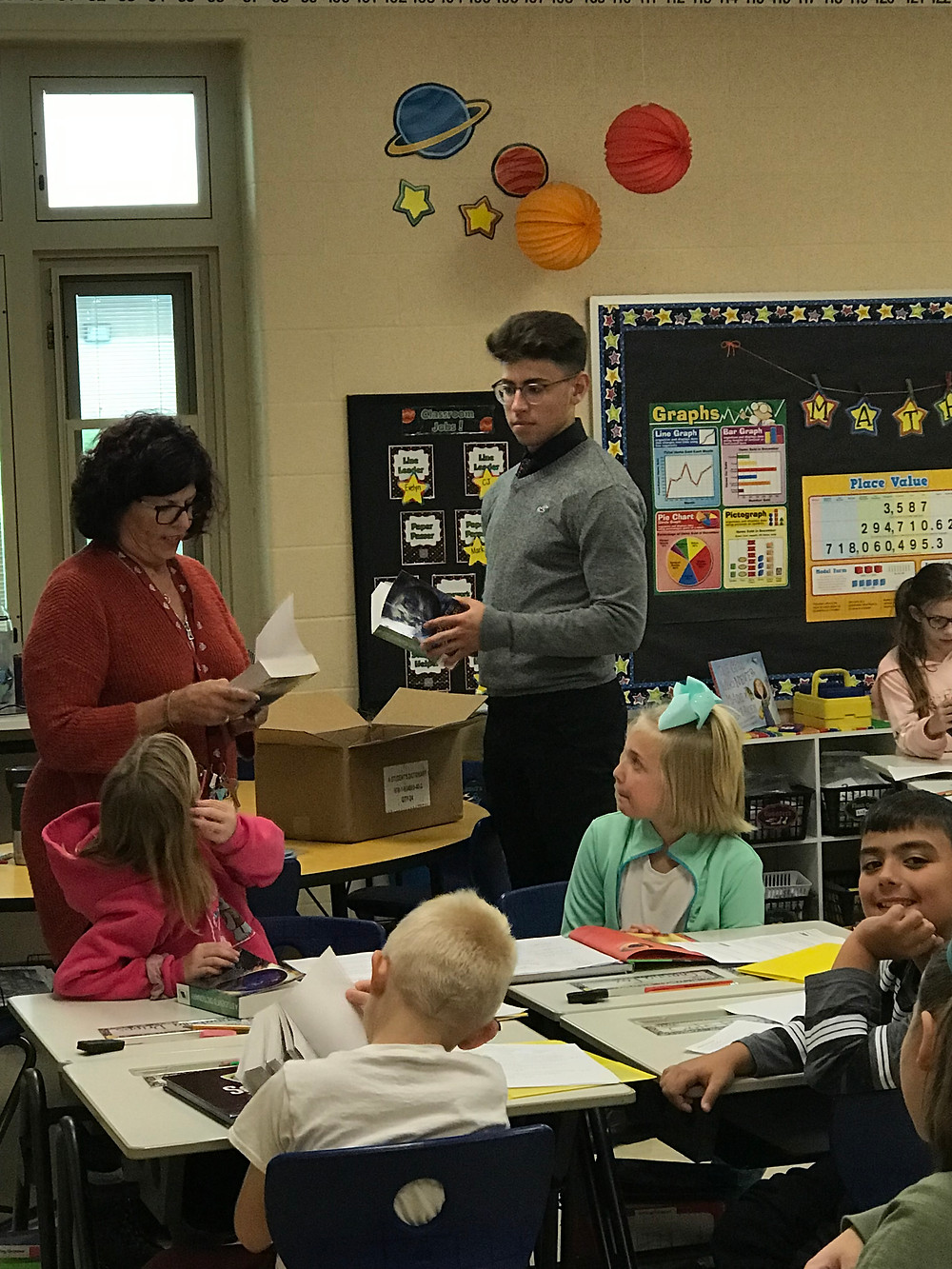 Rotary student in a classroom at the elementary school
