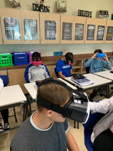Students with vr headset on