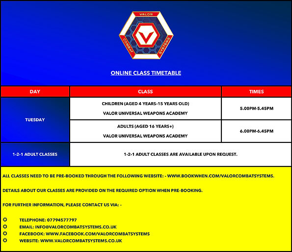 VALOR COMBAT SYSTEMS ONLINE CLASS TIMETABLE