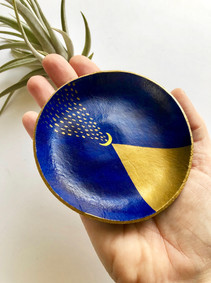 Cobalt and Gold Ring Dish