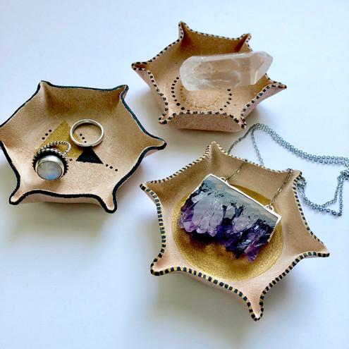 Hexagon Leather Jewelry Tray