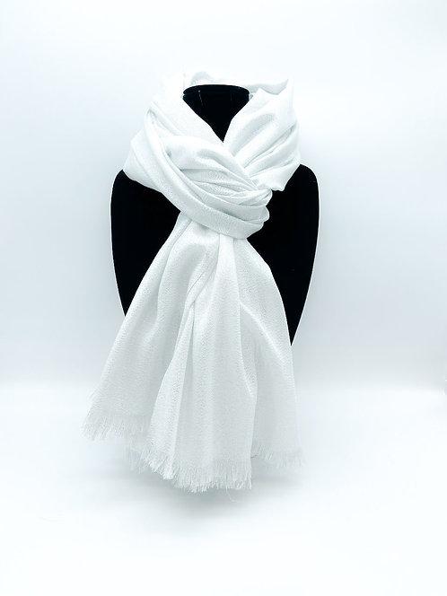 Sciarpa con tulle 100% viscosa color bianco