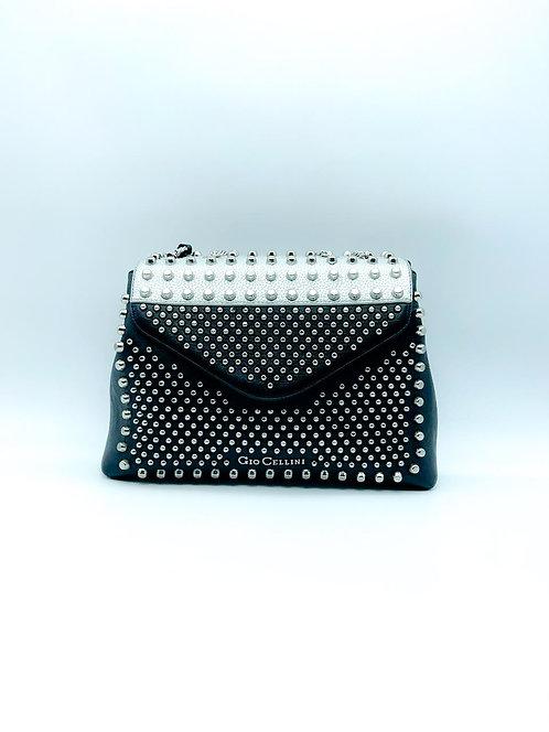 Borsa Gioo Celliuni con borchie bicolore nero e grigio