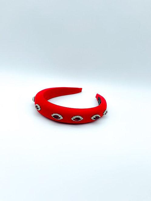 Cerchietto per capelli con pietre e strass rosso