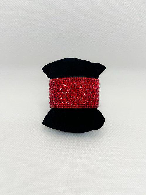 Bracciale fascia cristalli rosso