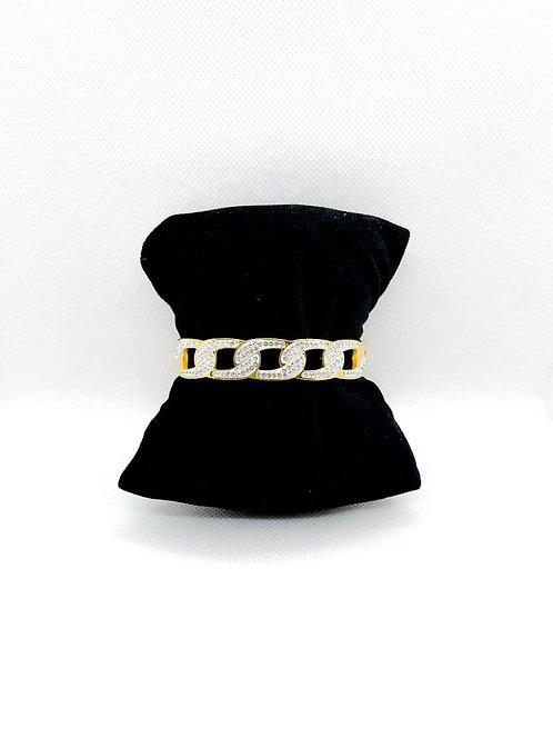 Bracciale rigido con strass chiuso oro