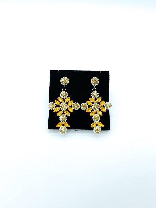 Orecchini cristalli croce giallo/arancio