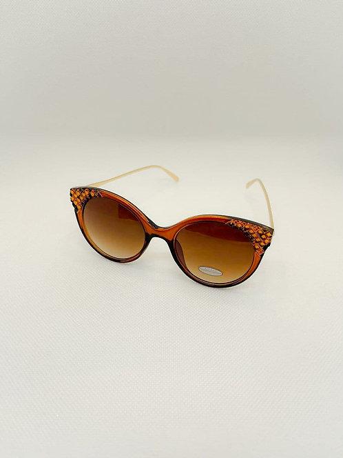 Occhiali sole effetto strass marrone