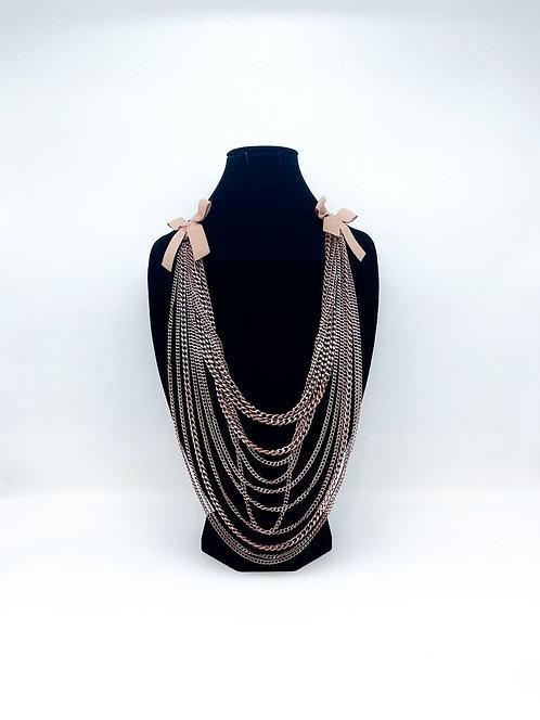 Collana lunga multi-filo a catena oro rosa
