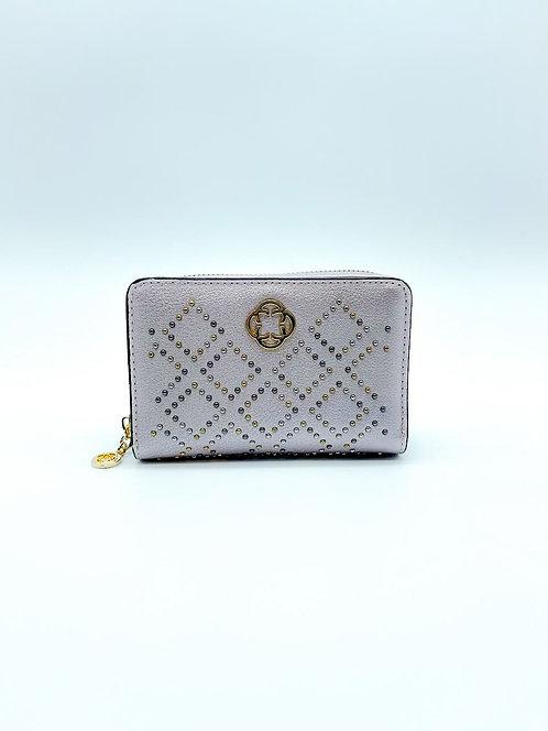 Portafoglio donna con borchie color lilla