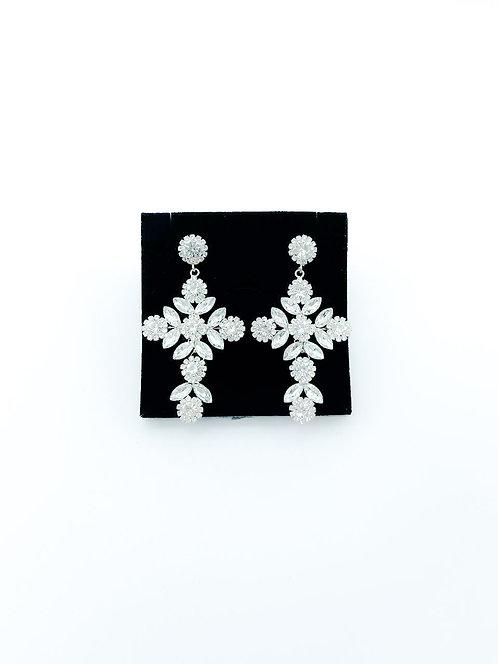 Orecchini cristalli croce bianco