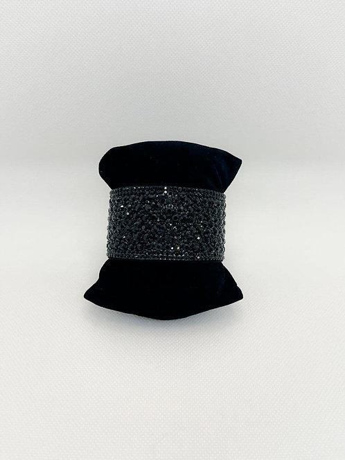 Bracciale fascia cristalli nero