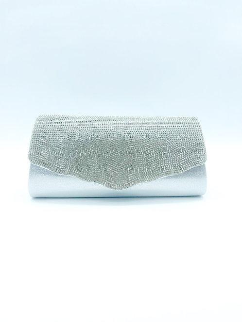 Pochette con pietre color grigio
