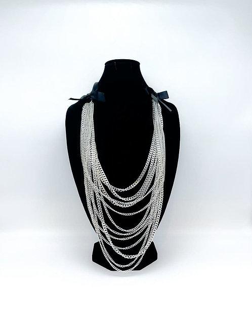 Collana lunga multi-filo a catena argento
