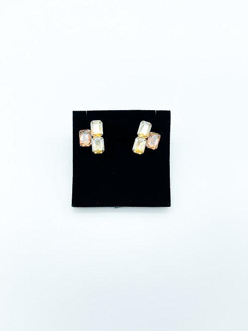 Orecchini con pietre rettangolari color oro