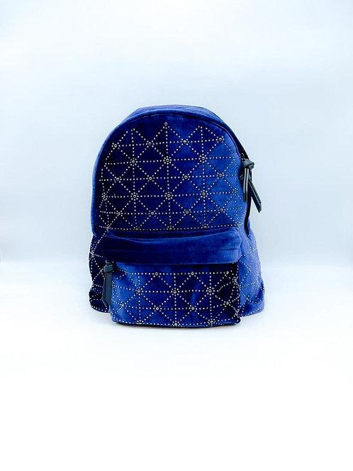 Zaino velluto con mini borchie blu
