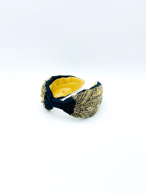 Cerchietto per capelli con stoffa ricamato a mano nero