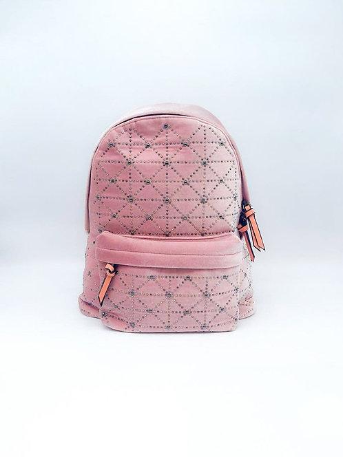 Zaino velluto con mini borchie rosa