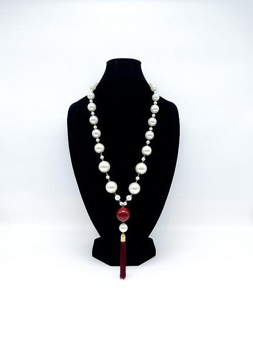 Collana lunga con perle e napina