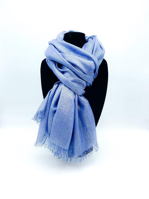 Sciarpa con tulle 100% viscosa color blu'
