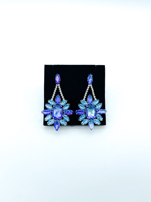 Orecchini cristalli fiore blu