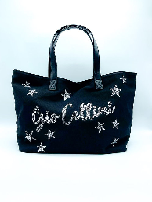 Borsa Gio Cellini grande con scritta color nero