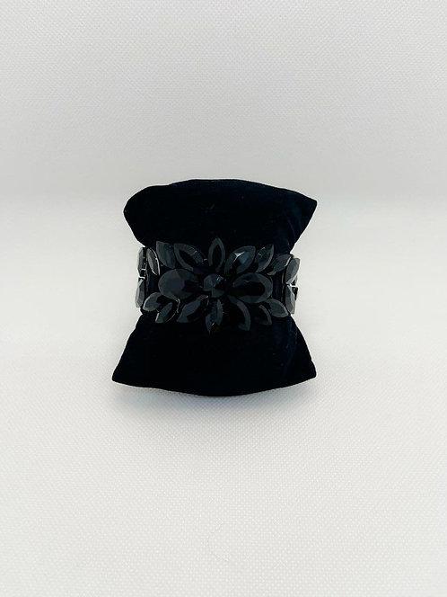 Bracciale cristalli fiore nero