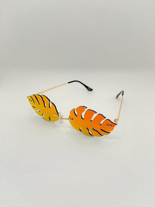 Occhiali sole foglia arancio